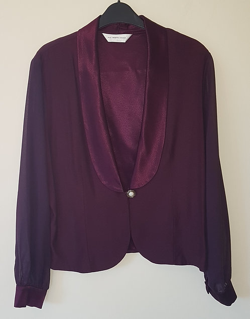Day Meets Night. Purple blazer. Chiffon sleeves. Dry clean only. Size 18.