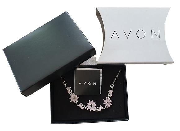 Avon Pink Flower necklace NWT