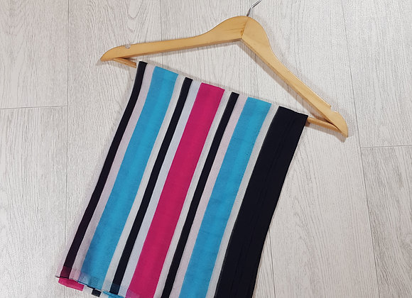 Blue black white and pink striped chiffon scarf