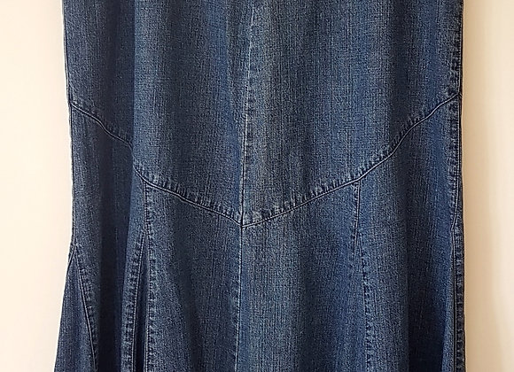 BHS. Denim skirt. Below the knee with zip up back. Size 16.