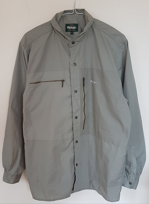 ROHAN. Beige/green shirt with popper buttons and zip pockets. Size S.