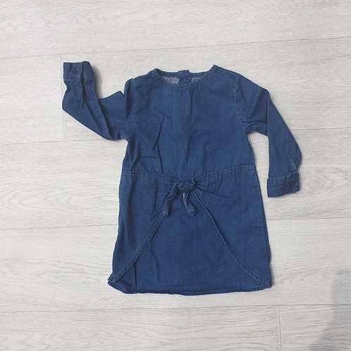 🌷Primark blue denim look dress with knot front. 9-12m
