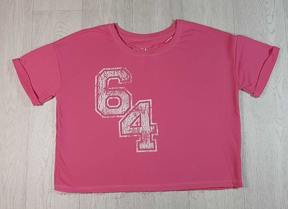 ◽Atmosphere pink short sleeved top with distressed hem. Size 14