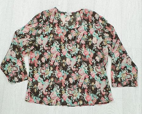 CC brown lightweight floral blouse. Size M