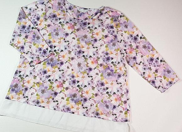 Bhs flower print sweater with chiffon hem. Size 18 (NWOT)