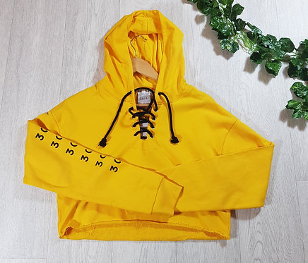 ✴304 yellow cropped hoodie with lace up detail size L (NWT)