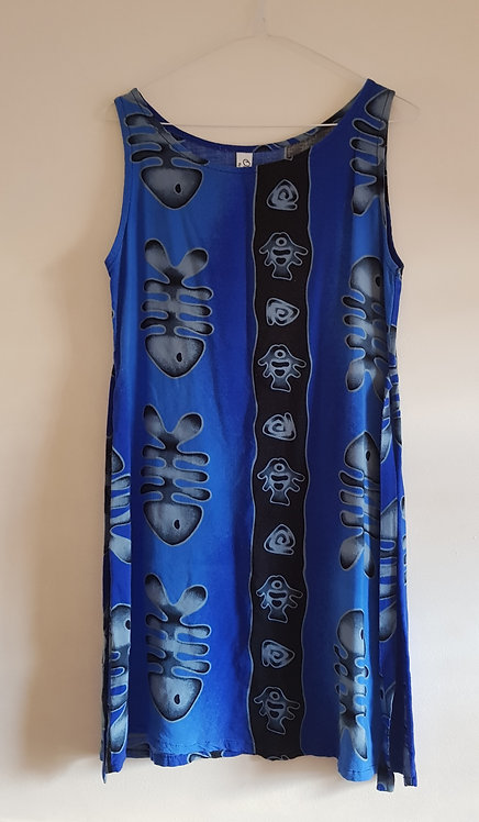 Blue fish print beach dress. Size 8-12