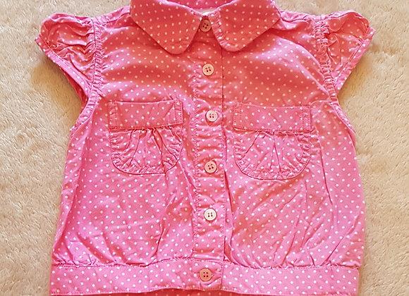 E-VIE ANGEL Pink spotty blouse 12-18m