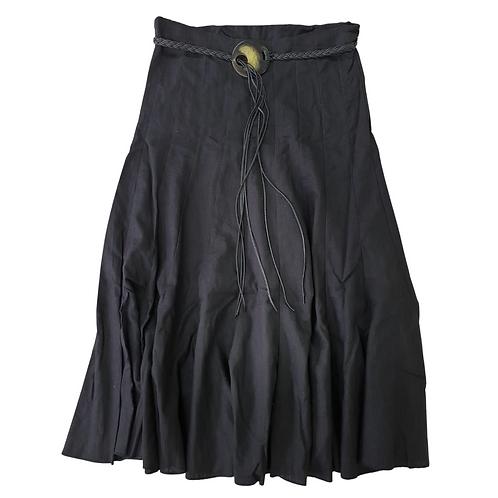 Atmosphere long Black linen skirt with belt. Uk 12