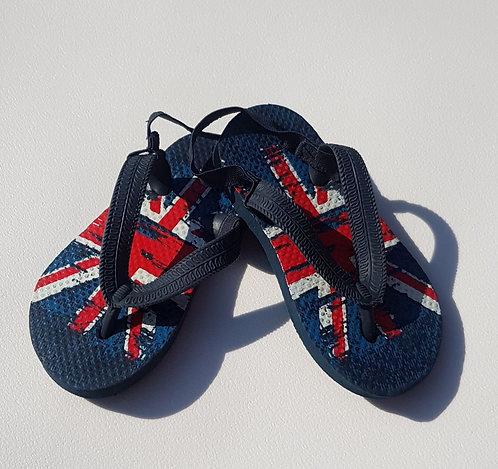 Britain flag flip flops. Infant size 6/7