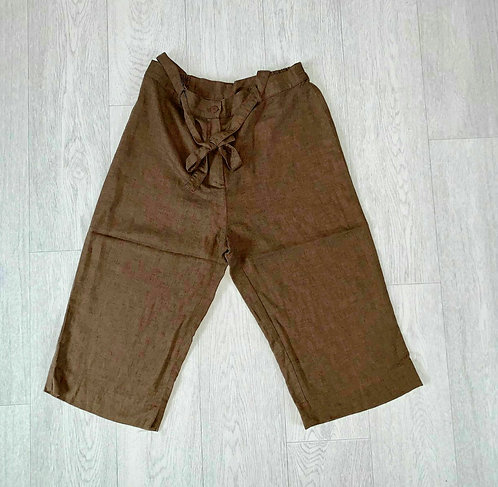 🦊Classics brown cropped linen trousers. Size 12