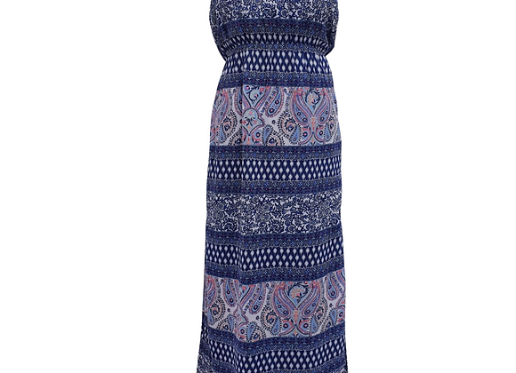 Accessorize strapless maxi dress.