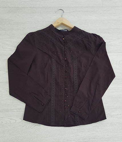 🦄BHS chocolate brown blouse with beads size 12 (NWT)