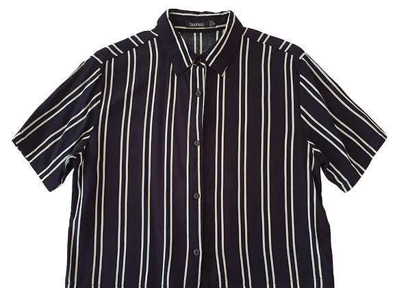 Boohoo Navy striped short shirt. Uk 8
