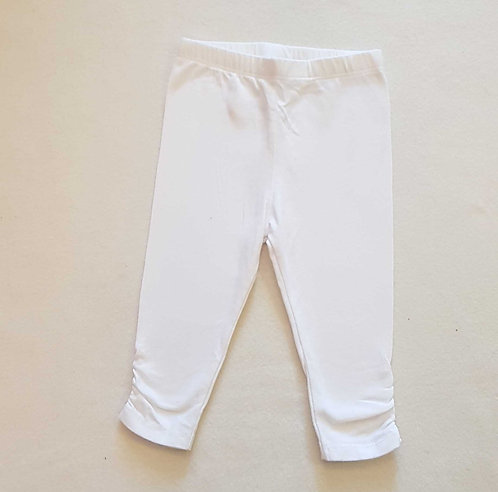 Mini Club white leggings with rouched ankles. 3-6months