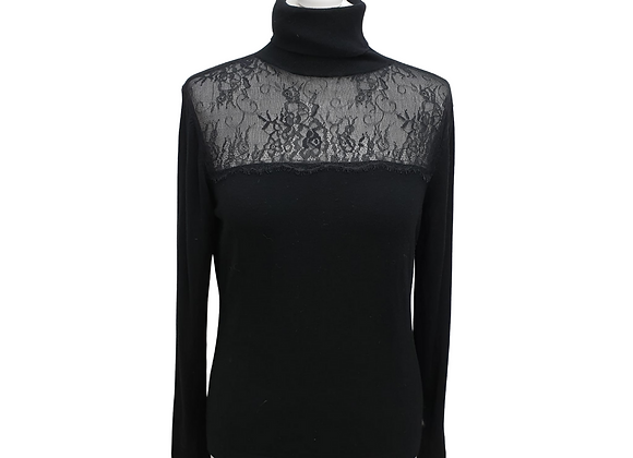 Coast black lace top roll neck sweater. Size M