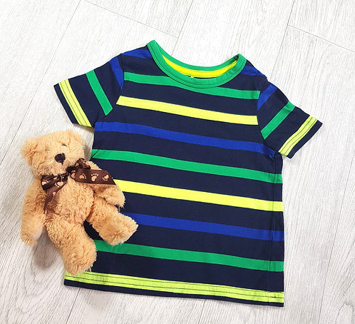 🔶️George boys navy and yellow striped t-shirt.1-1½yrs