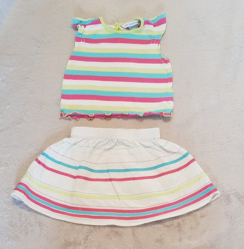 JOHN LEWIS Top and skirt set. 100% cotton 9-12m KEEP AWAY FROM FIRE