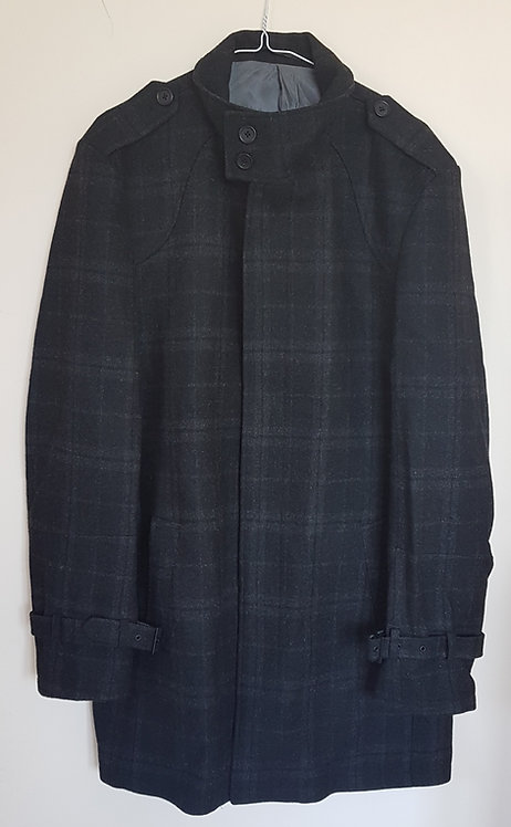 NEXT. Black checkered wool coat with buckles on cuffs. Size L. Dry clean only.
