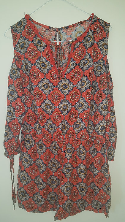Atmosphere. Red patterned open shoulder play suit. Size 10.