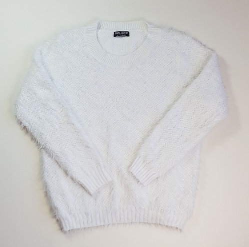 Select white fluffy jumper. Size 18