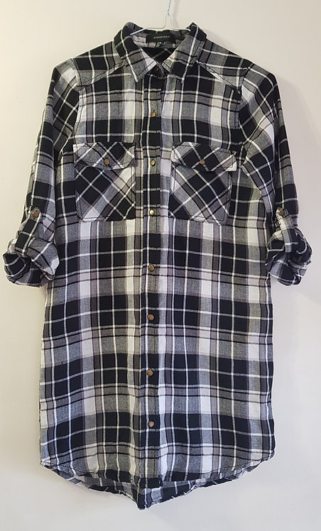 Atmosphere. Black and white check shirt dress. With belt hooks. Size 8.