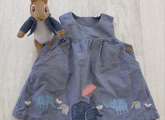 Blue pinafore dress.  3-6m