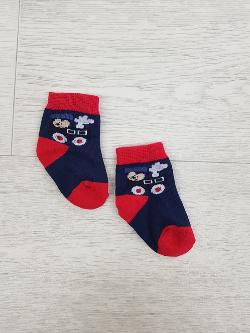 💠Baby Navy and Red Tractor socks size 3 / 6 m