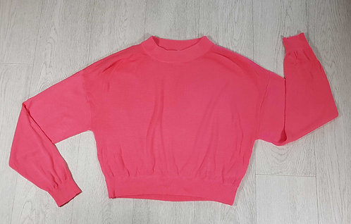 ◾H&M bright pink cropped knit sweater. Size S