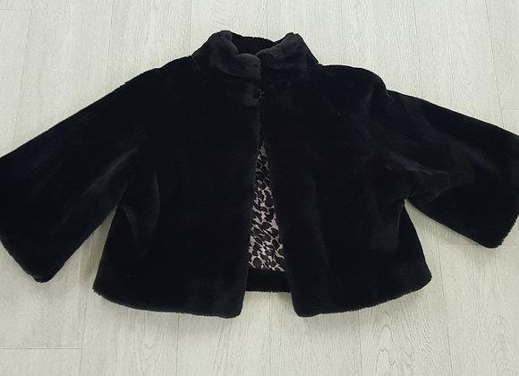 🍁Atmosphere black faux fur coat with leopard print interior size 14