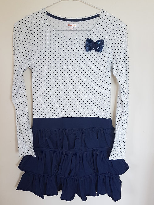 Bluezoo. Navy and white dress with sequin bow. Age 12-13yrs.