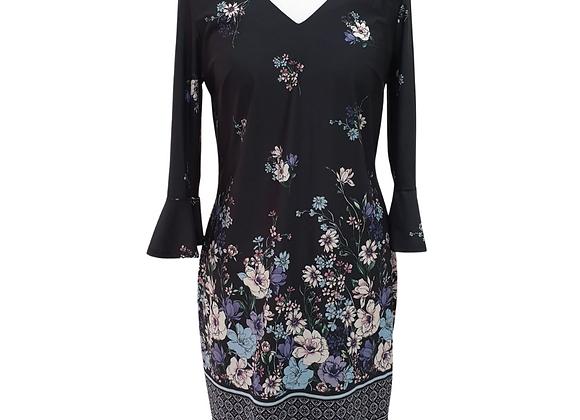 F&F black dress with floral detail. Uk 10