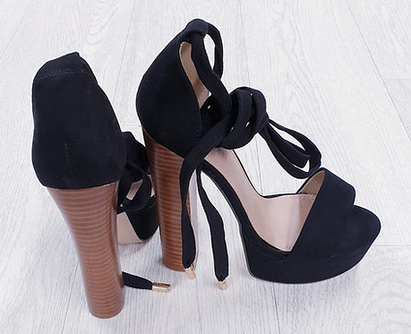 Asos black extra high heels with ankle laces. Size 3 NWOT