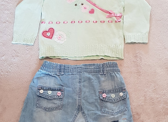 CHEROKEE Knit top and denim skirt. 100% cotton 9-12m