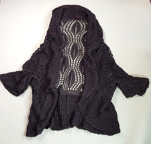 Wrap grey/purple crocheted cardigan. Size 14