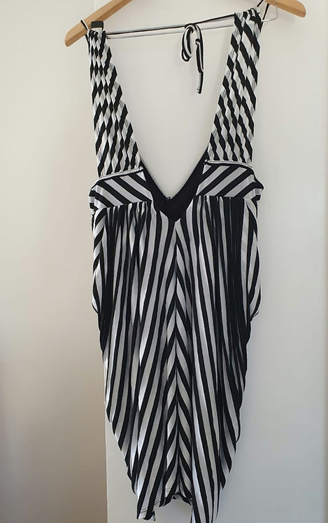 Miss Selfridge black/white striped dress. Uk 12