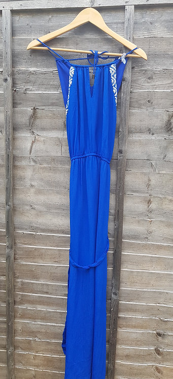 🔵River island royal blue chiffon maxi dress with sequin detail and belt size 10
