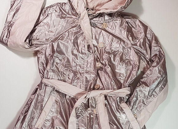 Easy Comfort pink shimmery hooded coat. Size 14