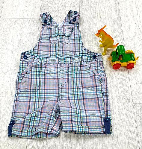 M&S Blue check dungaree shorts 18-24m
