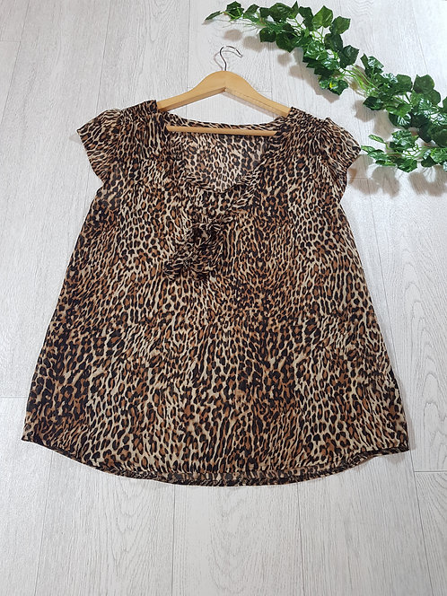 ✴Atmosphere ladies leopard print chiffon blouse with tie up ribbon size 14
