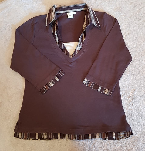 Cotton Traders long sleeve top with collar. Brown. Size 10-12.