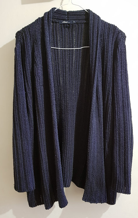Dash knit navy medium thick cardigan with subtle shine. Size 14.