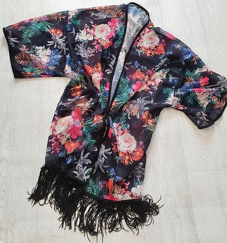 Black floral lightweight kimono. One size