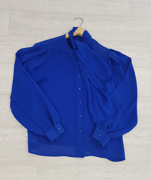 🍁St Michael blue chiffon shirt with attached scarf size 14