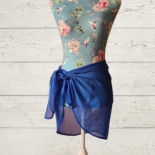 Blue tie waist beach skirt. One size