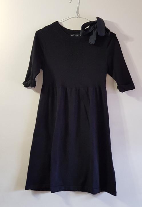 47479845f ZARA Black knit dress with bow neck. 100% cotton Size M