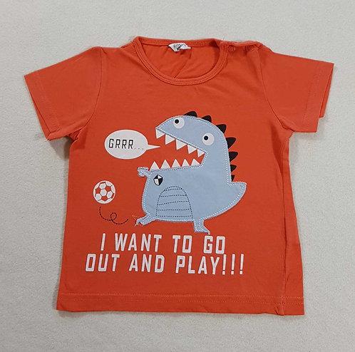 ◾Boys orange dinosaur tshirt 9-12m