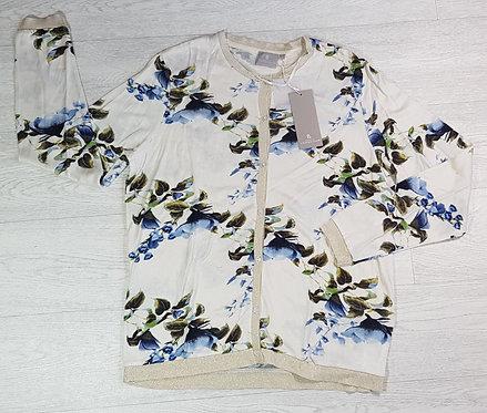 B. Brandtex Copenhagen cream/gold trim cardigan. Size M