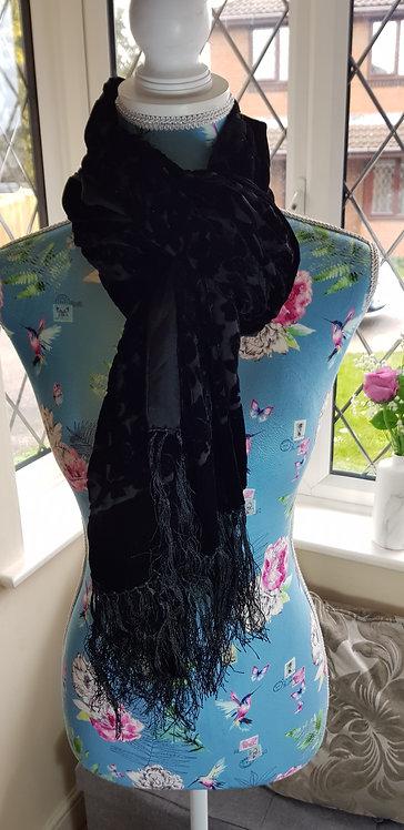 Black velvet style scarf