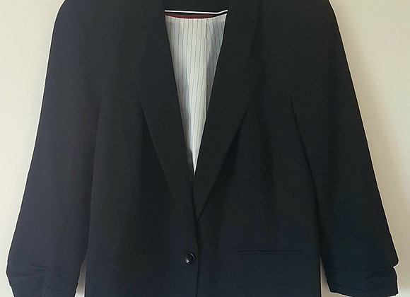 ATMOSPHERE. Black blazer with cropped sleeves and padded shoulders. Size 14.